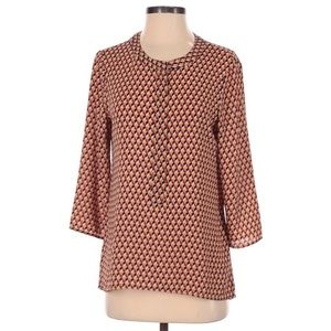 Express Magenta Yellow Gold Geometric Blouse Top